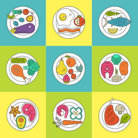 pictogramm: Set of plates with healthy food, including fruits, vegetables, seafood, meat, chicken. Healthy diet illustration made in vector.