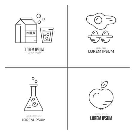 alergenos: Vector de estilo de l�nea de recogida de logotipo con lactosa, huevos, OMG y los al�rgenos vegetarianos products.Food s�mbolos. Vectores