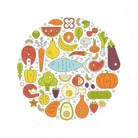 魚、卵、野菜、果物、肉、魚介類は円形に配置。古料理サークルのコンセプトです。健康的な食事でライン スタイルのベクトルで作られたイラスト