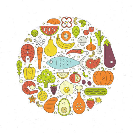 Fish, eggs, vegetables, fruits, meat and seafood arranged in a circle. Paleo food circle concept. Healthy diet illustraion made in line style vector.