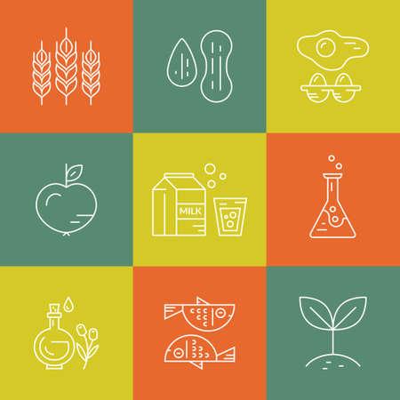 simbol: Vegetariani, paleo, senza glutine - icone e le illustrazioni delle diverse diete. L'intolleranza alimentare la linea symbols.Vector collezione di icone moderne.