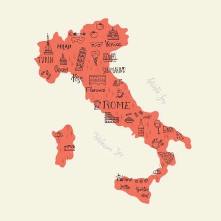 handdrawn: Handdrawn symbols of Italy on a map. Unique illustration for travel poster, visit Italy concept. Tourist postcard design.