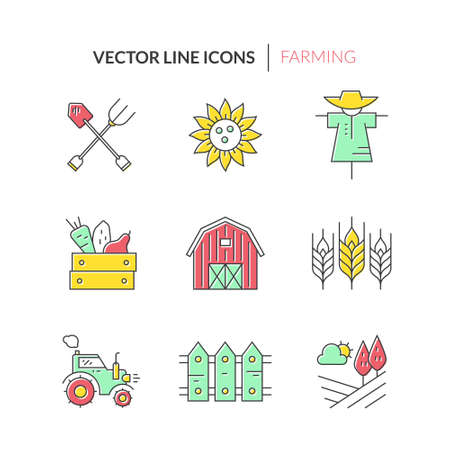 agrimotor: Agricultural icons. Perfect clean vector. Unique and modern set isolated on background.