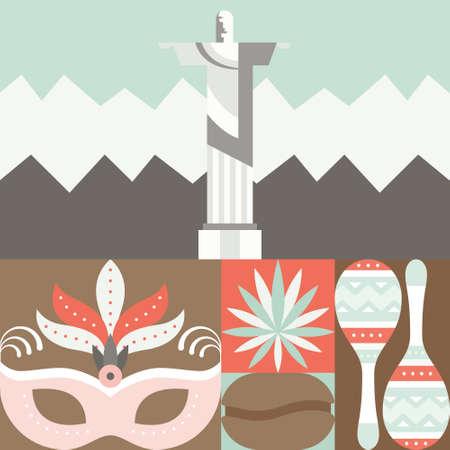 cristo: Travel to Brazil concept with different brazilian symbols arranged in a square.
