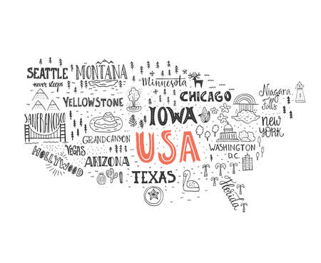 Handdrawn illustration of USA map with hand lettering names of states and tourist attractions. Travel to USA concept. American symbols on the map. Creative design element for tourist banner, apparel design, road trip event design. Иллюстрация