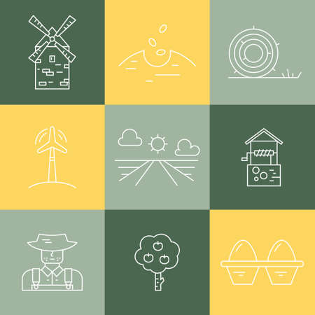 seeding: Perfect farming icons with different agricultural and eco product harvesting design elements. Modern linear icon set. Illustration
