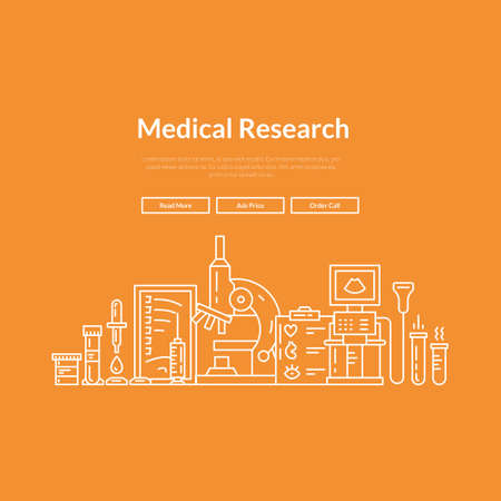 magnetic resonance imaging: Website layout for research lab, hospital or check-up center. Hero image concept for medical site.  Vector page template with medical symbols. Illustration