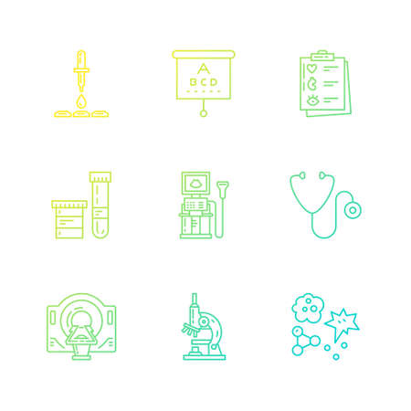 Modern line symbols of medicine - MRI, scanning machine, xray, blood test. Medical icons made in vector. Check-up and medical diagnostic. Illustration
