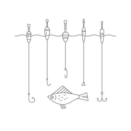 Vector illustration of fishing tackle - floaters and hooks. Fishing gear line series. Catching fish concept.