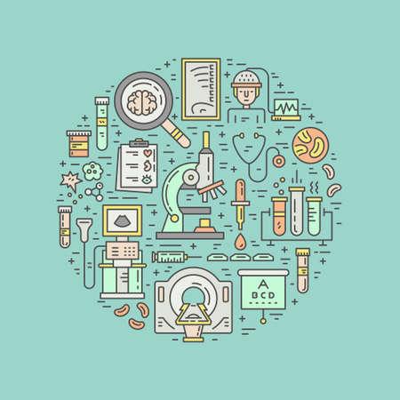 concept de diagnostic médical. illustration médicale unique avec l'IRM, scanner, microscope et d'autres processus symboles check-up isolé sur fond. Healthcare illustration. vecteur de recherche médicale.