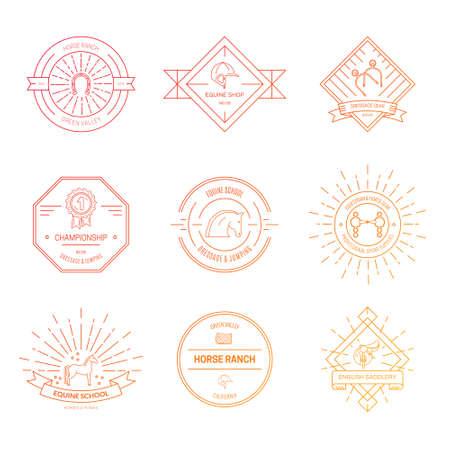 Hipster Logo Bundle mit Pferdeausrüstung. Pferde- und Reit-Label-Kollektion. Sattel, bit, Sporen und andere Reiten Gang. Logo