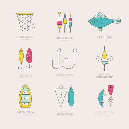floater: Collection of different fishing gear made in modern line style vector. Bobber, tackle, floater, rod, boat and other fishermans gear. Outdoor activity labels. Fishing shop logo.