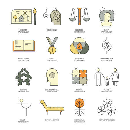 pictogramm: Therapist and counseling process symbols. Modern pictogramm collection of brain function and mental health problems for all kinds of design. Psychology schools with names.