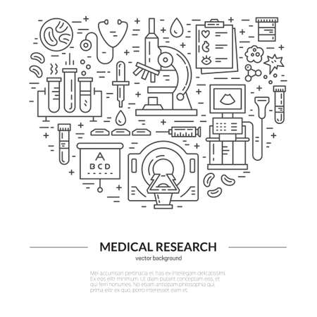 mri: Unique medical illustration with MRI, scan, microscope and other diagnostic process symbols. Vector line style series. Illustration