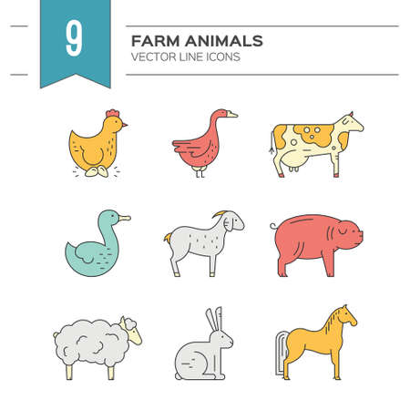 livestock: Collection of farm animals including goat, goose, chicken, cow. Livestock collection. Animal symbols.