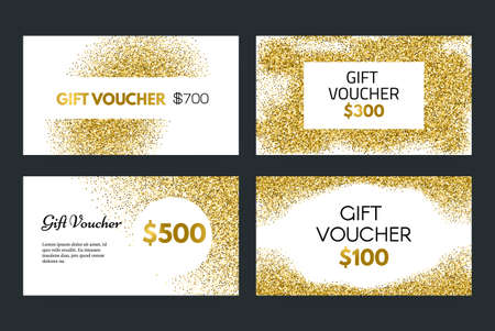 christmas gift: Gift voucher or gift certificate vector template with golden glitter - 100% vector. Premium gift card layout for your company. Gift coupon collection on golden background. Luxury gift voucher for any shop. Shopping certificate. Vip card. Illustration