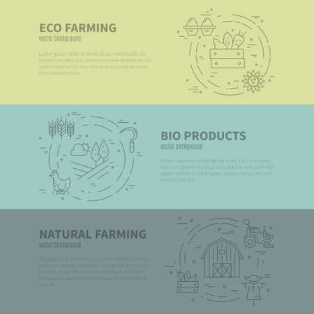 organic farming: Vector concept with different agricultural symbols. Great template for bio farming advertising or organic products banner. Agricultural series. Illustration