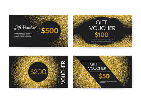 only members: Gift voucher or gift certificate vector template with golden glitter - 100% vector. Premium gift card layout for your company. Gift coupon collection on golden background. Luxury gift voucher for any shop. Shopping certificate. Vip card. Illustration