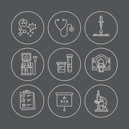 의료 기호 벡터 라인 아이콘. 건강 검진 및 연구. MRI, 검사, 엑스레이, 혈액 검사 등의 의료 진단 과정의 라인 아이콘.