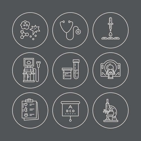 icons: Vector line icons with medical symbols. Medical check-up and research. Line icons of MRI, scan, xray, blood testing and other medical diagnostic process.