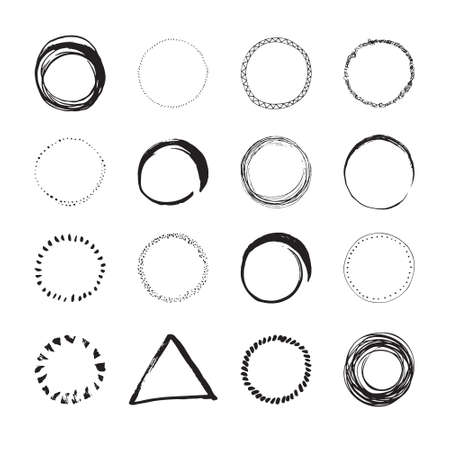 sketched shapes: Set of round handdrawn circles and other shapes for logo design. Unique hand sketched shapes for branding identity. Ink brush frames. Vector design. Illustration