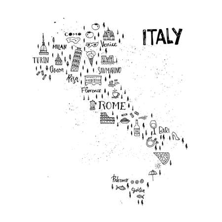 Handdrawn map of italy with all main symbols and unique lettering of main cities. Visit Italy concept. Poster design or postcard illustration. Vectores