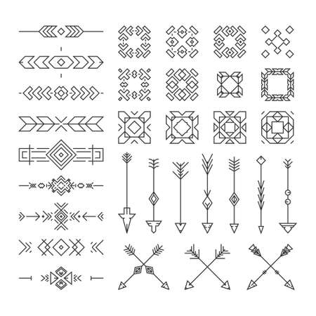 Native American design elements including borders, embellishments, arrows made in vector. Perfect design elements for greeting cards and invitations. Vektorové ilustrace