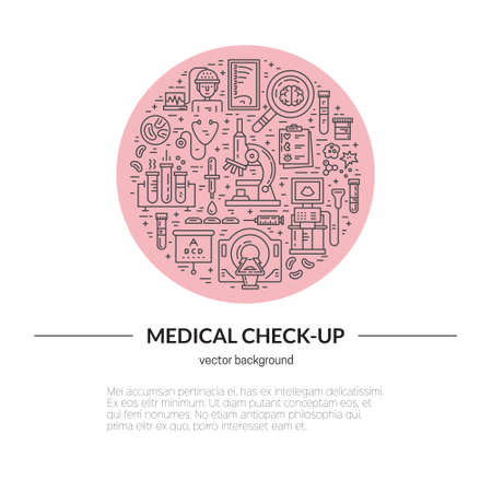 medical testing: Medical illustration made in line style vector. Vecor icons with medical check-up and diagnostic process - xray, MRI, blood testing, microscope and other medical gear. Illustration