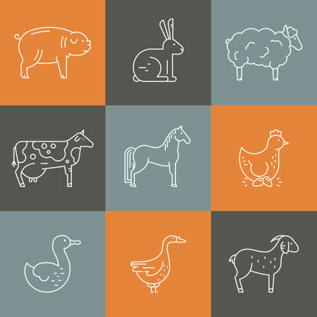 stead: Collection of farm animals including goat, goose, chicken, cow. Farming icons. Livestock symbols. Illustration
