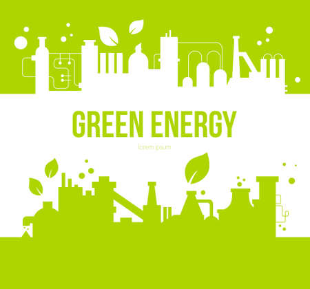 your text: Green energy concept with factory and leaves silhouettes. Environmental element with place for your text made in vector.