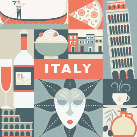 masque: Unique design for travel to Italy poster. Modern flat vector concept with Italian symbols. Coliseum, masquerade masque, gondola and other Italy design elements. Illustration