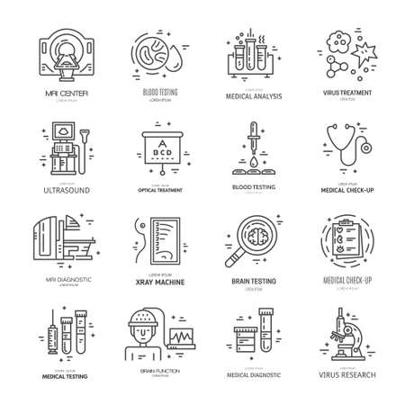 magnetic resonance imaging: Symbols of medical technology made in line style vector. Illustration of medical services and symbols.