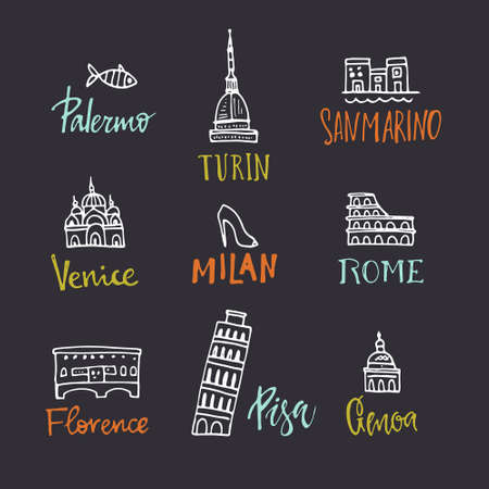 made in italy: Set of design elements with italian symbols. Handdrawn symbols of Italy - Pisa tower, Coloseum. Unique illustration made in vector. Illustration