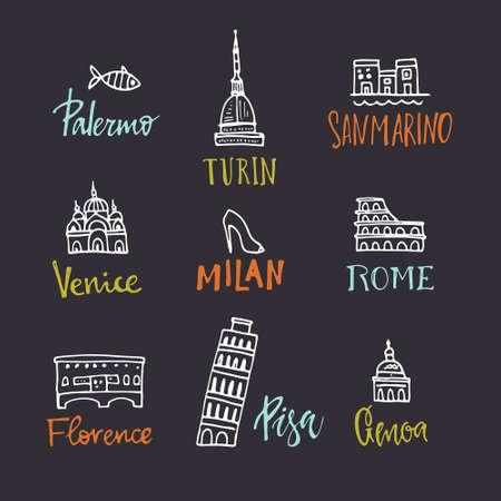 Set of design elements with italian symbols. Handdrawn symbols of Italy - Pisa tower, Coloseum. Unique illustration made in vector.