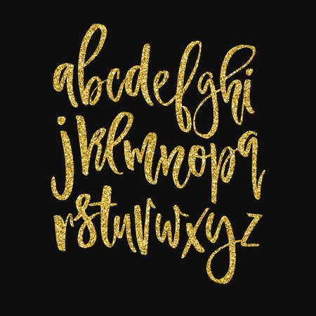 Golden glitter alphabet. Unique glowing vector font. Handdrawn calligraphy font. Glowing vector letters.
