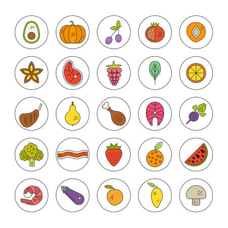 pictogramm: Big collection of colored food icons, including avocado, strawberry, bacon, salmon and other fruits, vegetables and meat. Healthy diet vector pictogramm.