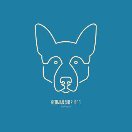 breeder: Portrait of German Shepherd made in modern line style vector. Perfect logo for dog breeder, pet shop, veteriarian clinic or dog training company.