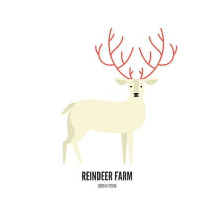 cuernos: Ilustración del vector de un reno con bellos cuernos hechas en estilo moderno plano. colección gráfica animal. Logotipo o etiqueta para su empresa aislados en el fondo. Vectores