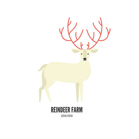 horns: Vector illustration of a reindeer with beautiful horns made in modern flat style. Graphical animal collection. Logo or label for your company isolated on background.