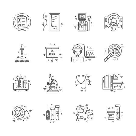 Symbolen van medische technologie in lijn stijl vector. Illustratie van medische diensten en symbolen.