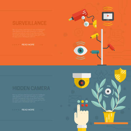 security cameras: Banners with security cameras. CCTV and street monitoring concept. Video surveillance flyers template made in vector - isolated on background and easy to use.