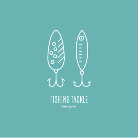 Modern illustration of a tackle - design element or label for fishing gear shop. Fishing equipment made in modern line style vector.