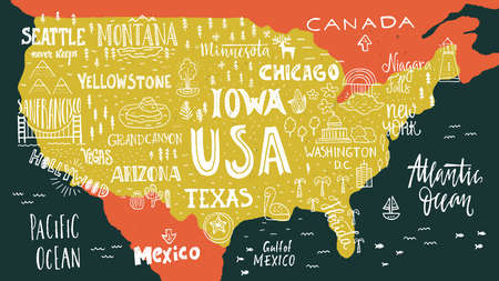 trip: Handdrawn illustration of USA map with hand lettering names of states and tourist attractions. Travel to USA concept. American symbols on the map. Creative design element for tourist banner, apparel design, road trip event design. Illustration