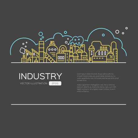 industry design: Modern line style design - industry flyer, landing page for manufactury, factory buildings. Linear style. Illustration