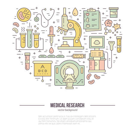 magnetic resonance imaging: Medical concept. Vector illustration with medical research items - MRI, scan, check-up forms, blood testing. Isolated illustration for medical poster.