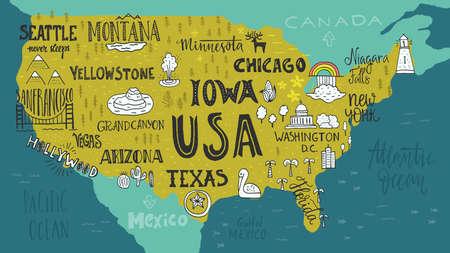 米国はマップする状態と観光名所の名前をレタリングの手の手描きイラスト。米国概念への旅行します。マップ上のアメリカのシンボル。観光バナ  イラスト・ベクター素材