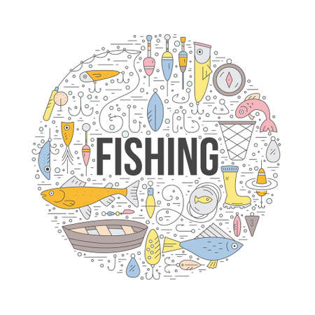rod sign: Fishing clipart element with a sign. Modern style vector illustration with different fishing gear including boat, rod, tackle, bobber.