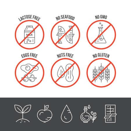 intolerancia: Alimentos iconos vectoriales intolerancia. Sin mariscos, sin lactosa, sin OGM, gluten, huevos, frutos secos no. serie de l�neas de vector.