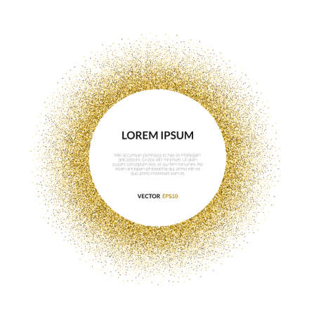 Abstract vector background with gold glitter. 100% vector - easy to use and edit. Gold sparkles isolated on white background with place for your text. Golden design element for gift voucher, bridal shower, birthday party, vip card or other type of templat Vettoriali