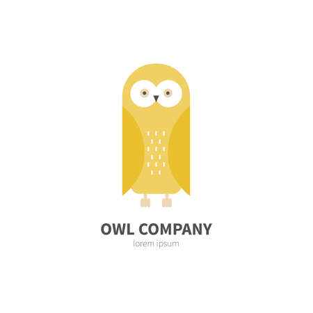 company logo: Vector illustration of an owl made in modern flat style. Graphical animal collection. Logo or label for your company isolated on background. Illustration